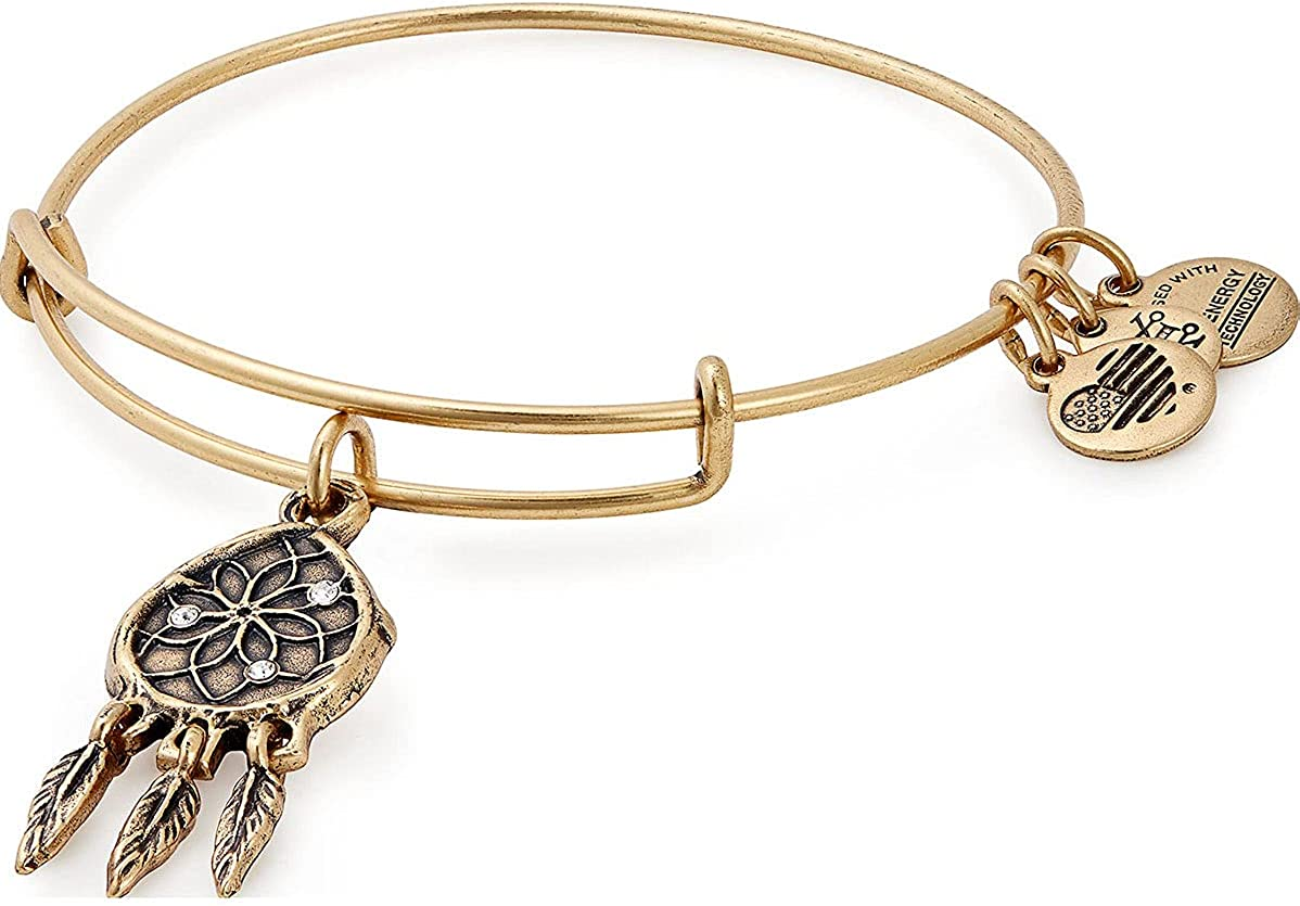 Alex and Ani Path of Symbols Expandable Bangle for Women, Dreamcatcher Charm, Rafaelian Finish, 2 to 3.5 in