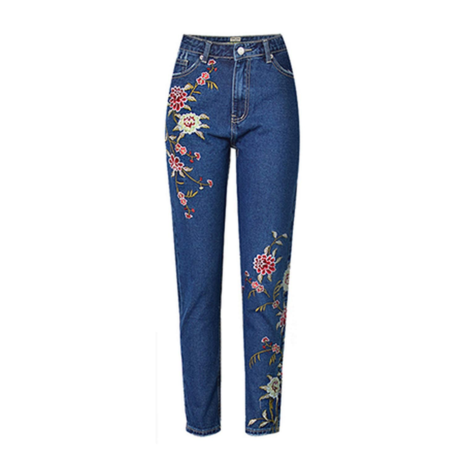 bluee 3XL Plus Size Classic High Waist Jeans Woman 2019 Flower Embroidery Jeans Female Casual Denim Pants Trousers