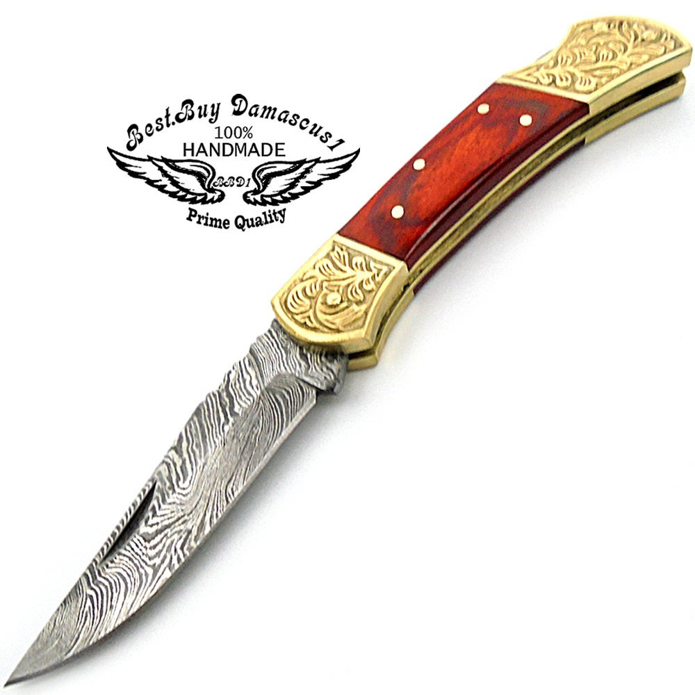 Red Wood Brass Double Bloster Beautiful Screemshw Work 7.6'' Custom Handmade Damascus Steel Back Lock Folding Pocket Knife 100% Prime Quality+ Leather Sheath Case by Best.Buy.Damascus1 (Image #2)