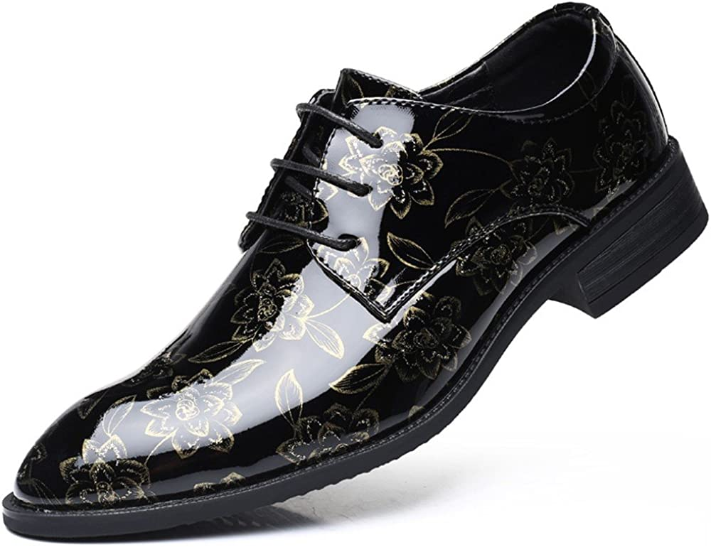ZhaoDao158 Hot Large Size Mens Casual Floral Leather Dress Shoes Mens Fashion Bright Pointed-Toe Shoes