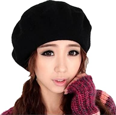 1586085f15301 Women s Quality Beret Artist Cap 100% Wool French Beret Winter Autumn Hat  Ladies (Black