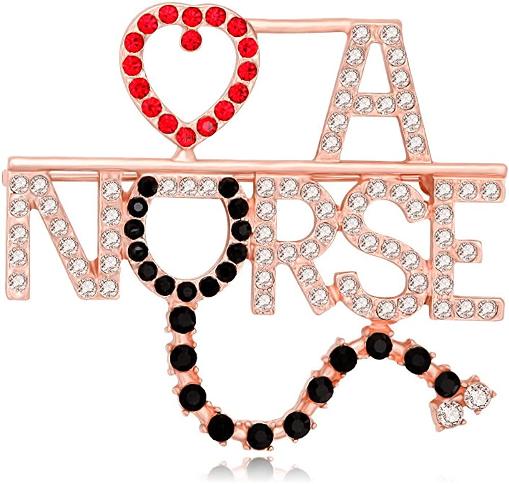 MANZHEN Rhinestone Love A Nurse Stethoscope Brooch Pins Nurse Medical Student Gifts