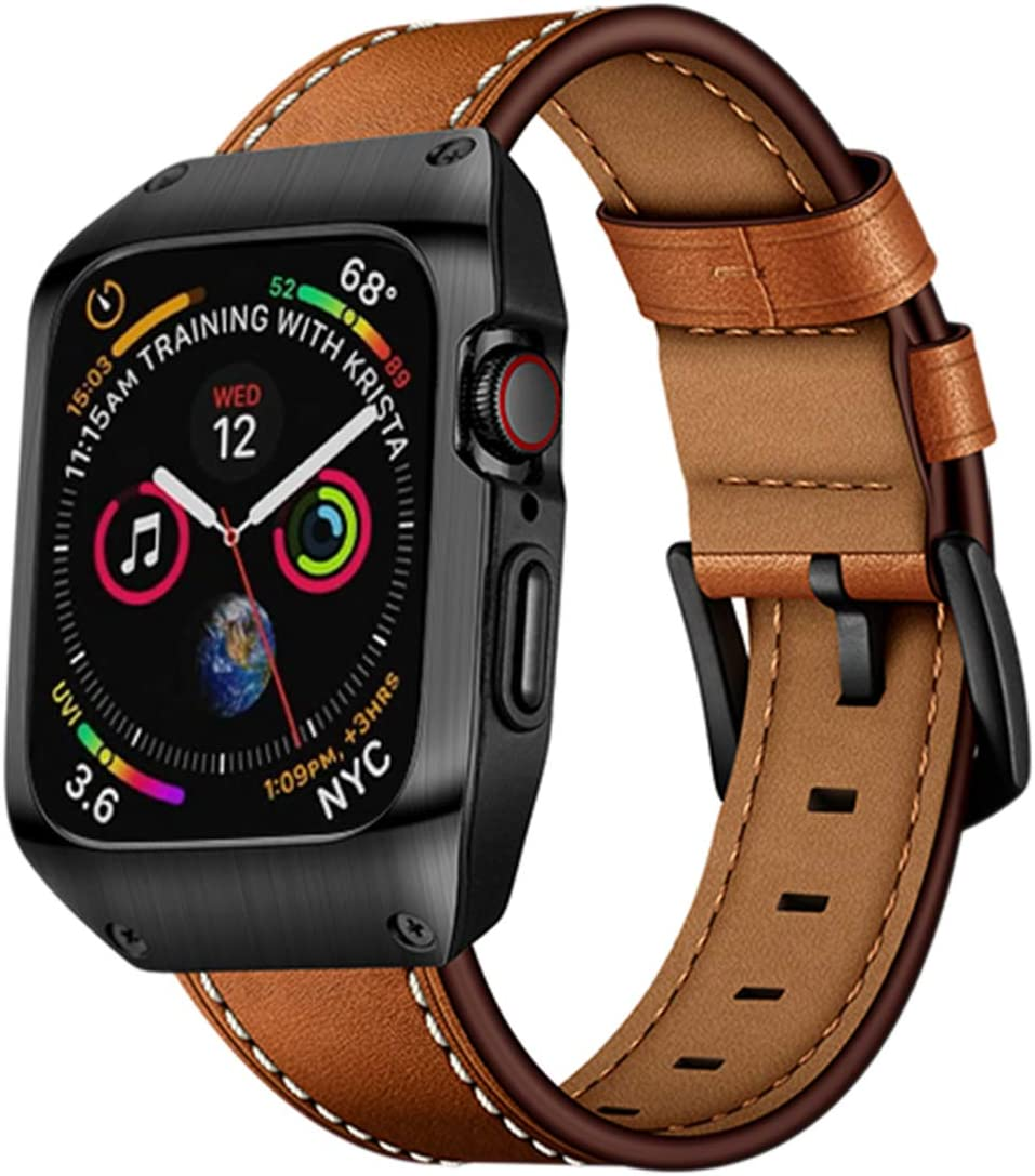 EloBeth 44mm Band Case Compatible with Apple Watch Band 44mm Series 6/5/4 & Apple Watch SE 44mm Bands, Genuine Leather Bands & Metal/PC Protective Case for iWatch Series 6/5/4/SE 44mm (Brown/Black)