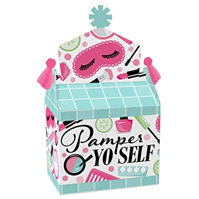 Big Dot of Happiness Spa Day - Treat Box Party Favors - Girls Makeup Party Goodie Gable Boxes - Set of 12: Toys & Games