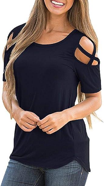 UMIPUBO Bluas de Mujer Camisa Algodón Blusa Mujer Elegante Manga Corta Camisa Suelta Mujer Casual Verano Shirts: Amazon.es: Ropa y accesorios