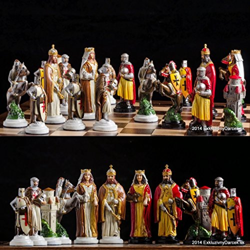 (Unique hand made chess set Templar,Pewter handcrafted chess set,Hand painted)
