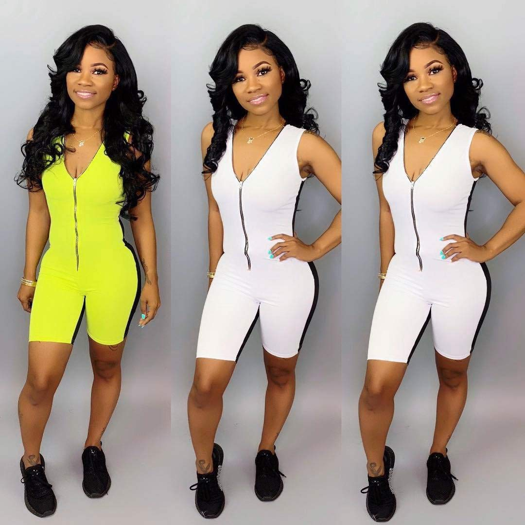 TALOVSV Splice Skinny Playsuit Women Deep V Neck Sleeveless Bodycon Jumpsuit Front Zipper One Piece Short