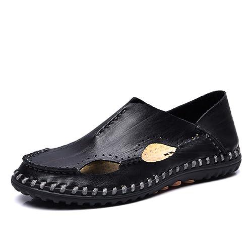 MSKAY MEN SHOES Elegantes Mocasines Piel Hombre Verano Comodo Ancho Zapatos Cuero Walk Playa Zapatillas Retro Planos Tacons Vestir: Amazon.es: Zapatos y ...