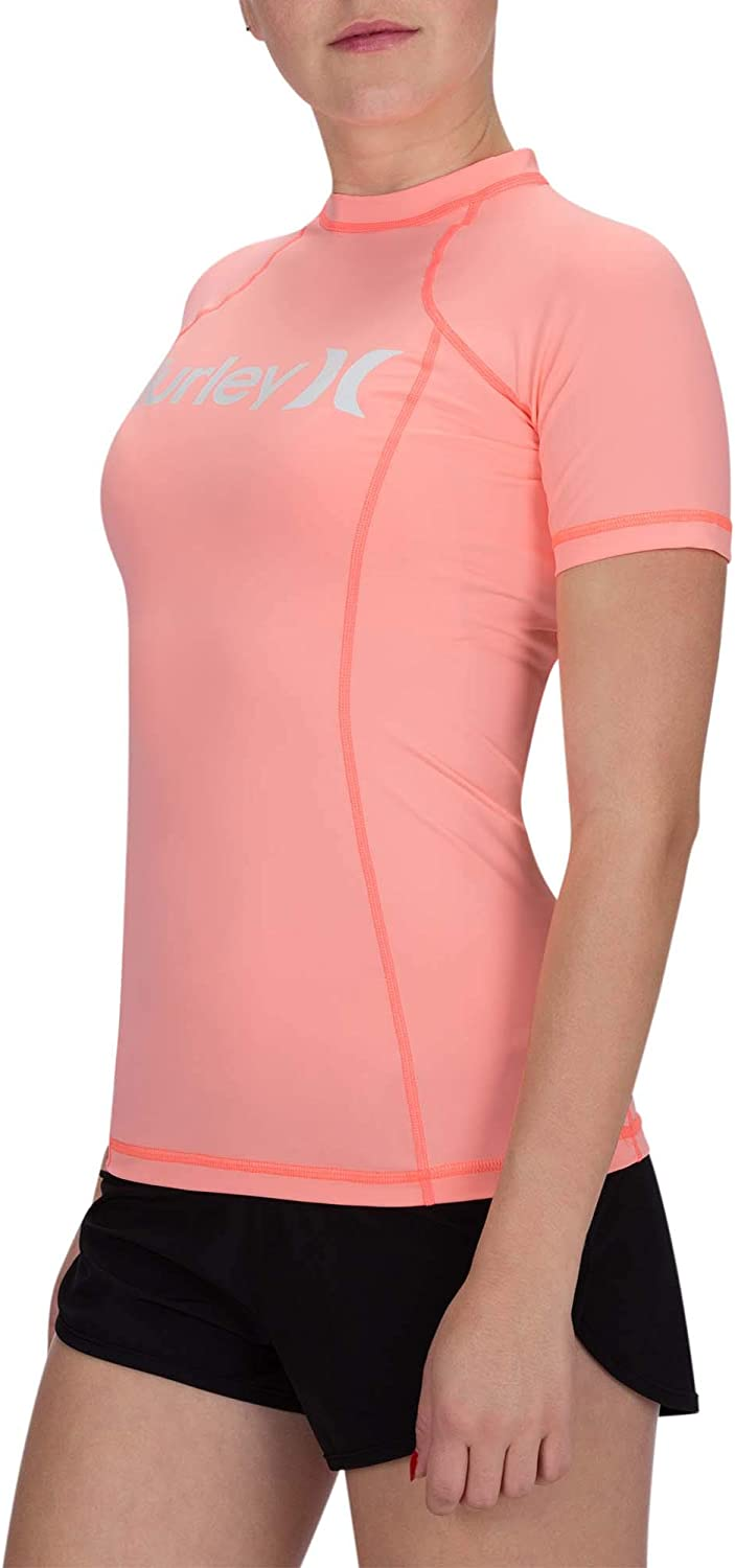 Hurley Womens One /& Only SS Rash Guard Pink Tint