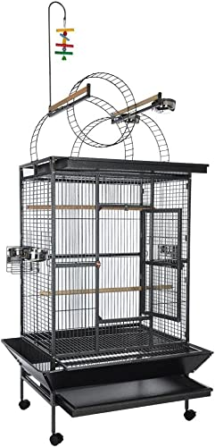 AV Prime Inc. Black Vein Deluxe Select Series with Play Top Ladders Parrot Bird Cage 40x31x75