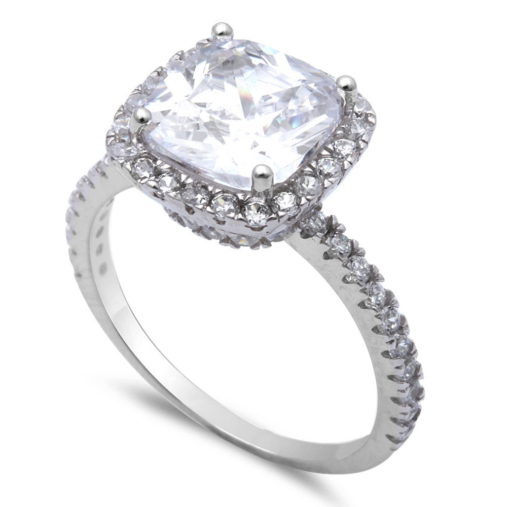 Oxford Diamond Co 3CT Cushion Cut Fine Cz .925 Sterling Silver Ring Size 5