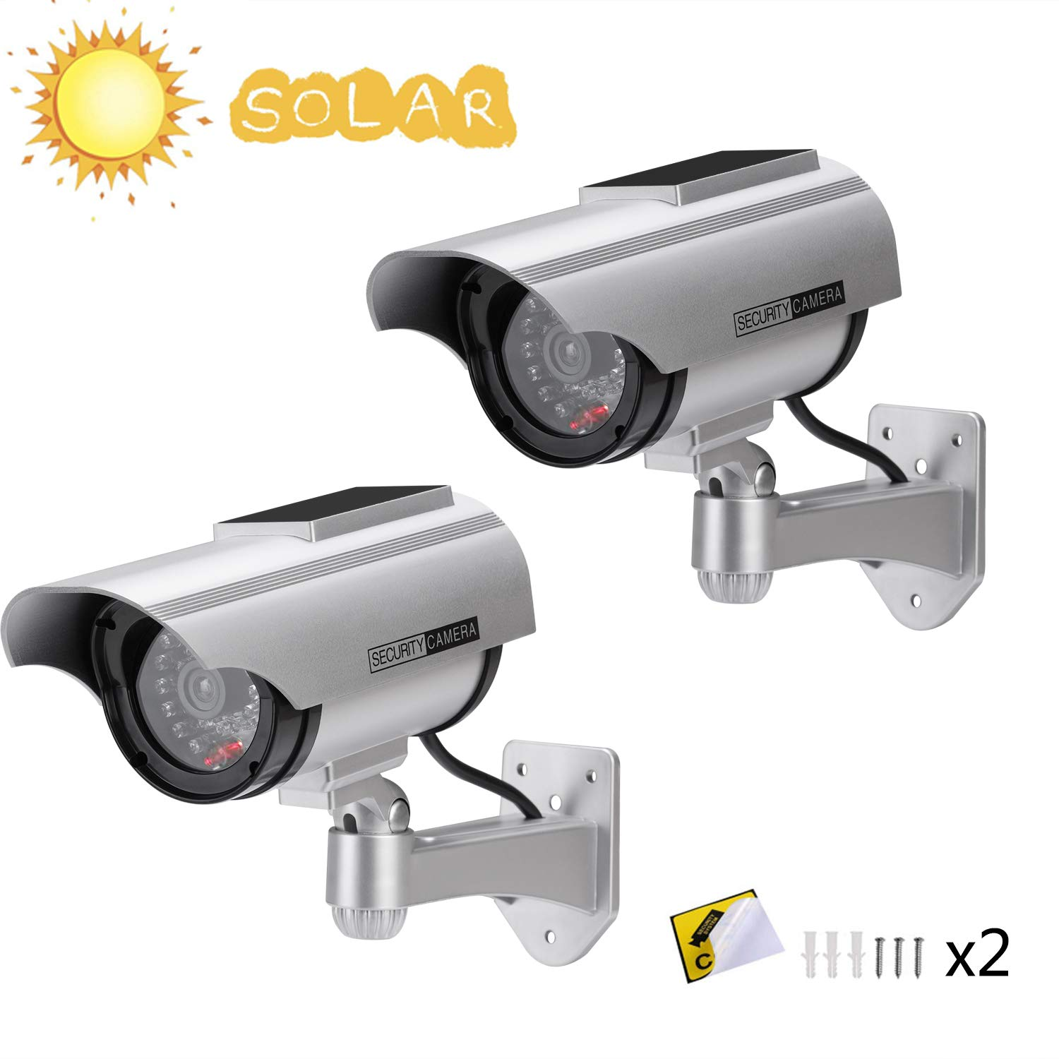 AlfaView Solar Powered Bullet Dummy Fake Surveillance Camera Security CCTV Dome Camera with LED Flashing Light for Outdoor/Indoor,Home/Business (2 Pack) by AlfaView