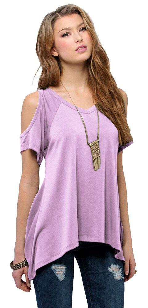 Urban CoCo Women's Vogue Shoulder Off Wide Hem Design Top Shirt - Small - Mauve