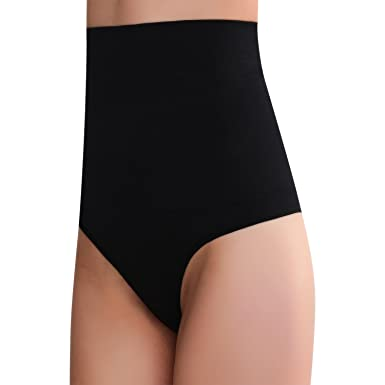 52b1f18c3f63 Smart Fit Me Women's High Waisted Thong Shapewear Tummy Control Panties at Amazon  Women's Clothing store:
