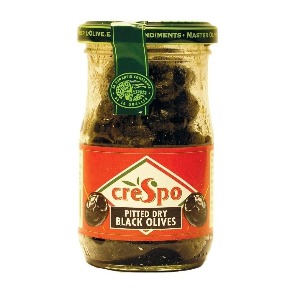 Crespo Black Olives Pitted Dry (110g) - Pack of 2