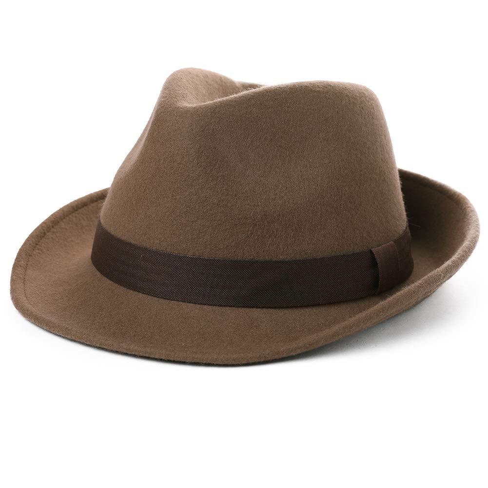 Womens Gatsby Gangster Mens Fedora Homburg Winter 100% Wool Felt Panama Hat Party Derby Jazz Tan by Fancet