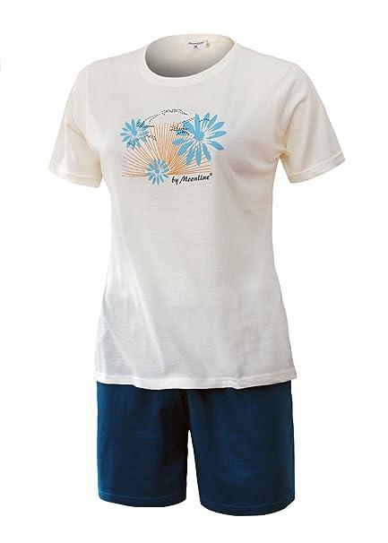 511f2d5569770c Schlafanzug kurz Damen Pyjama kurz Damen Nachthemd kurz aus 100% Baumwolle  softweich Gr. S M L XL (S/36-38, oberteil offwhite+motiv druck/short blau):  ...