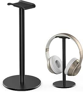 Aluminum Headphone Stand Headset Holder Gaming Headset Holder Non-Slip Silicone Earphone Stand for All Headphone Sizes - Black