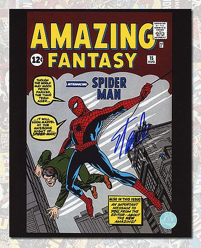 Autographed Stan Lee Signed Amazing Fantasy #15 Spider-Man Comic Cover 11 x 14 Photo - Autographed Celebrity Photos