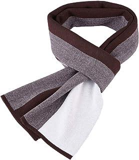 ZDD Autumn and Winter Simple Solid Color Warm Striped Cotton Scarf Men (Color : Dark Gray, Size : 30x180cm)