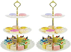 LIONWEI LIONWELI 3-tier White Gold Plastic Dessert Stand Pastry Stand Cake Stand Cupcake Stand Holder Serving Platter for Party Wedding Home Decor-Large-set of 2