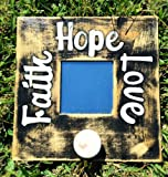 FAITH HOPE LOVE Primitive Shabby Rustic Chic CUSTOM Wall Mirror Coat Hanger Decor CHOOSE COLOR