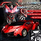 SainSmart Jr.. Transform Car Robot, Electronic Remote Control RC Vehicles with One Button Tranforming and Realistic Engine Sound (Red)