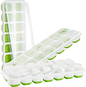 Ice Cube Trays,3 Pack Food Grade and Easy-Release Silicone Ice Cube Molds with Removable Lid Stackable Durable Dishwasher Safe for Chilled Drinks, Whiskey & Cocktails (Green)