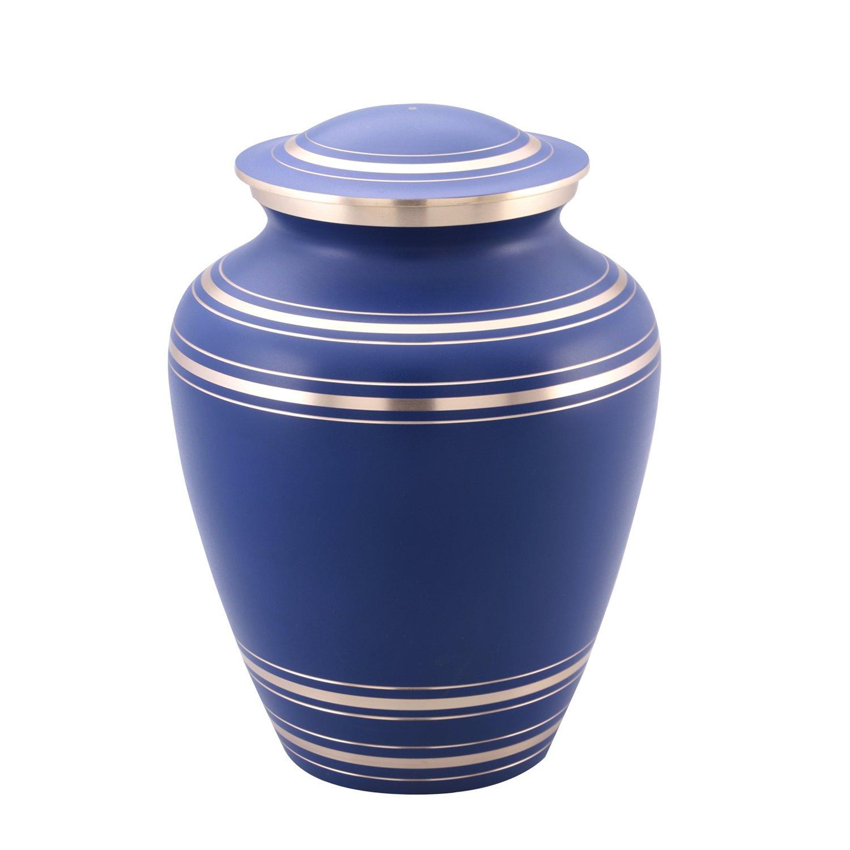 Elite Onyx Blue Cremation Urn – Blue Funeral Urn – Solid Brass Brushed Onyx Blue Urn – Handcrafted and Affordable Large Urn for Human Ashes – Adult Funeral Urn with Velvet Bag
