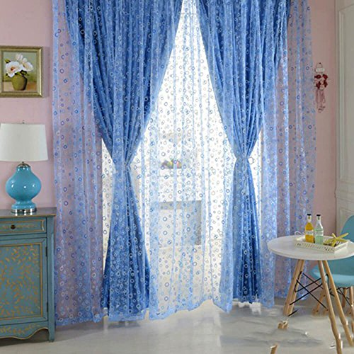 Eclipse Cup Pull (YOOYOO 100 x 200cm Shimmery Circle Printed Voile Door Window Sheer Curtain Panel Drape)