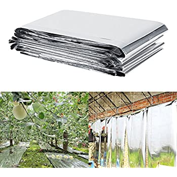 Estink Plant Reflective Film,82.68 x 47.24inch Two-Sided Reflective Mylar Film Opaque Reflective Covering Sheets for Greenhouse Fruit Trees Increasing Temperature Light