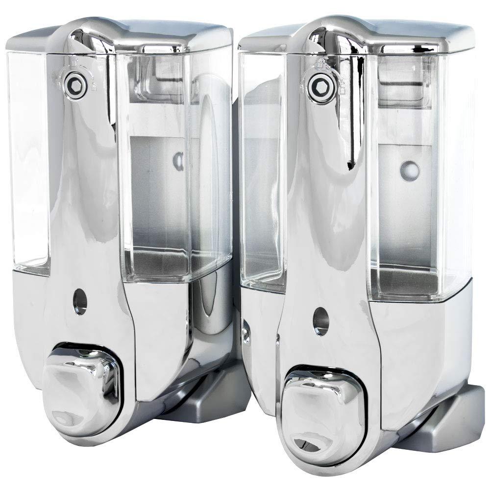 Doppio Dispenser di Sapone Liquido Porta Sapone Doccia Bagno Cucina Muro Cromo Sanlingo