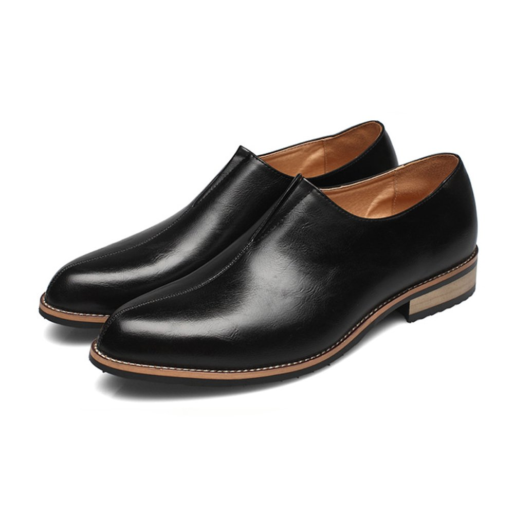 Herren Ankle Schuhe Glatt PU-Leder oberen Oxfords Slip-on atmungsaktiv formale Business Oxfords oberen (Farbe : Schwarz, Größe : CN26) Schwarz 028cfc