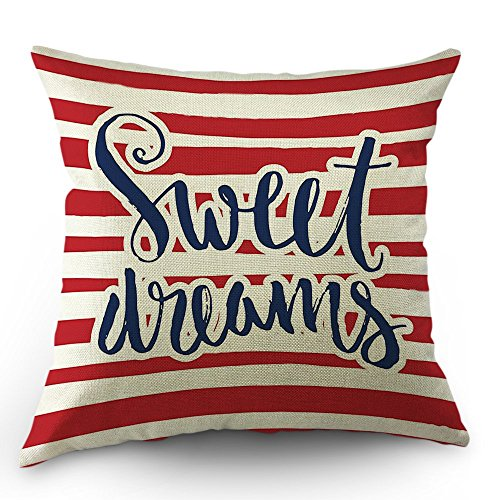 Dreams Sweet Print (Moslion Striped Throw Pillow Cover Vintage Quote Sweet Dreams Cotton Linen Decorative Pillow Case 18 x 18 Inch Standard Square Cushion Cover for Sofa Men Women Kids Red Navy Blue and White)
