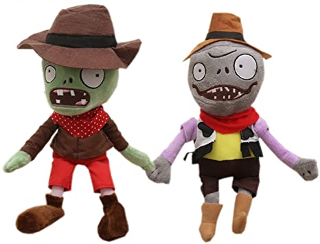 2 Pcs Zombies Stuffed Animal Plants Plush Toy,Green Cowboy Dwarf Zombies 28cm/11&quot