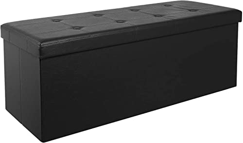 Homfa 43 Inches Faux Leather Storage Ottoman Bench