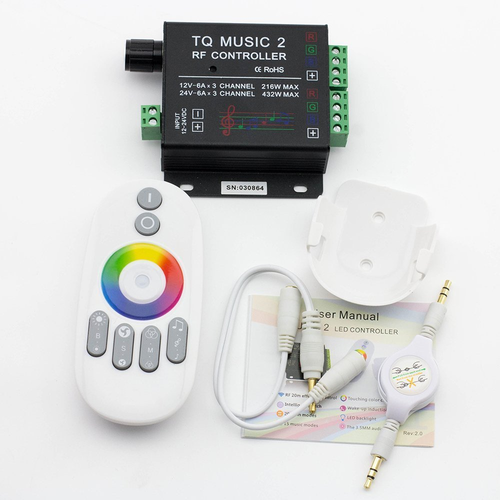 YHG LED RGB Music Touch Controller Rf Sensitivety Backlight Rf Remote Touching Color 3.5mm Audio 15 Music Modes LED Light Strip Controller