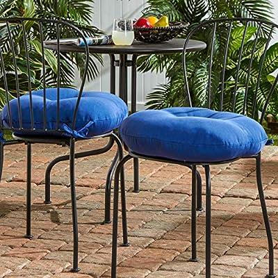 South Pine Porch AM5817S2-MARINE Solid Marine Blue 18-inch Round Outdoor Bistro Chair Cushion, Set of 2 : Garden & Outdoor