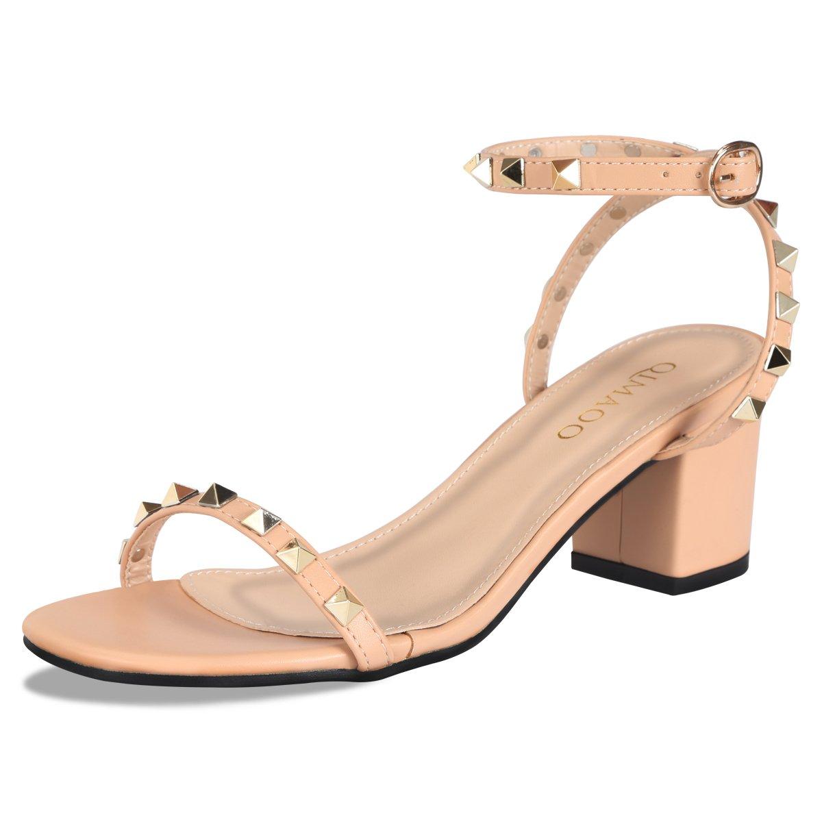 Qimaoo Femme Mariage Été 6cm Sandales à Talon Carré, Chaussures Chair(rivet) à Haut Talon de 6cm pour Mariage Soirée Fête Chair(rivet) de47d36 - piero.space