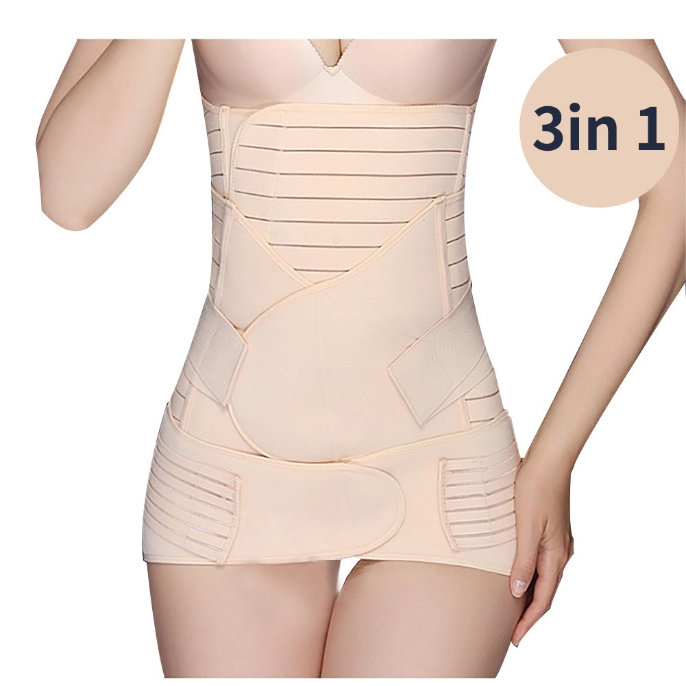 Vidillo Postpartum Waist Support Belt Women Belly Band, 3 in 1 Recovery Belly Waist Pelvis Belt Weight Loss Trainer Cincher Belt Body Shaper Postnatal Shapewear for Women and Maternity (X-Large)