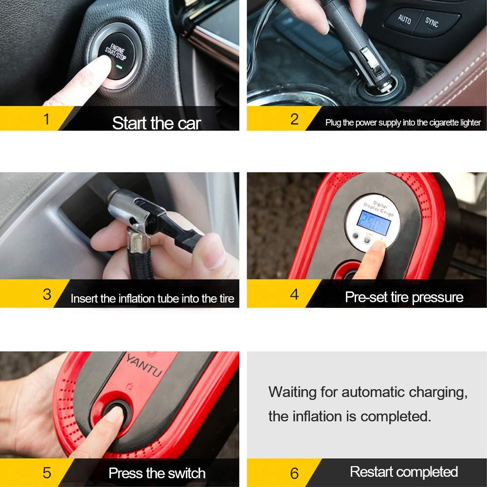 WLZP Car Digital Tyre Inflator LCD Display Digital Pressure Gauge 12V 120W Portable Air Compressor Pump with LED lamp 3 Nozzle Adaptors