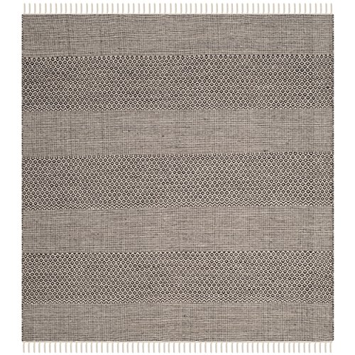 - Safavieh Montauk Collection MTK330N Handmade Flatweave Ivory and Anthracite Cotton Square Area Rug (6' Square)