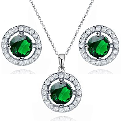 Dangle Earrings with Round Green Simulated Emerald Zirconia Crystals 18 ct White Gold Plated for Women HGOAb3QOTe