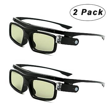 Paquete de 2 Cocar Obturador Activo Recargables 3D Gafas Universales para Todos los proyectores 3D DLP-Link Acer BenQ Optoma Viewsonic Philips LG Infocus NEC Jmgo Vivitek Cocar Toumei 3D Gafas