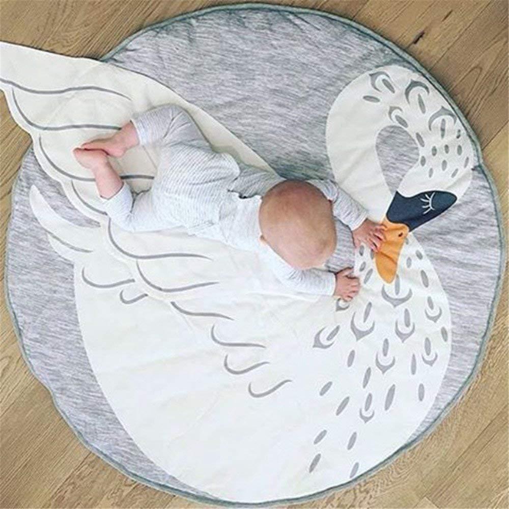 Abreeze Kids Nursery Rug Bunny Shaped Play Mat Round Carpet Cartoon Rabbit Design Home Room Decor 35X37 inches,Grey