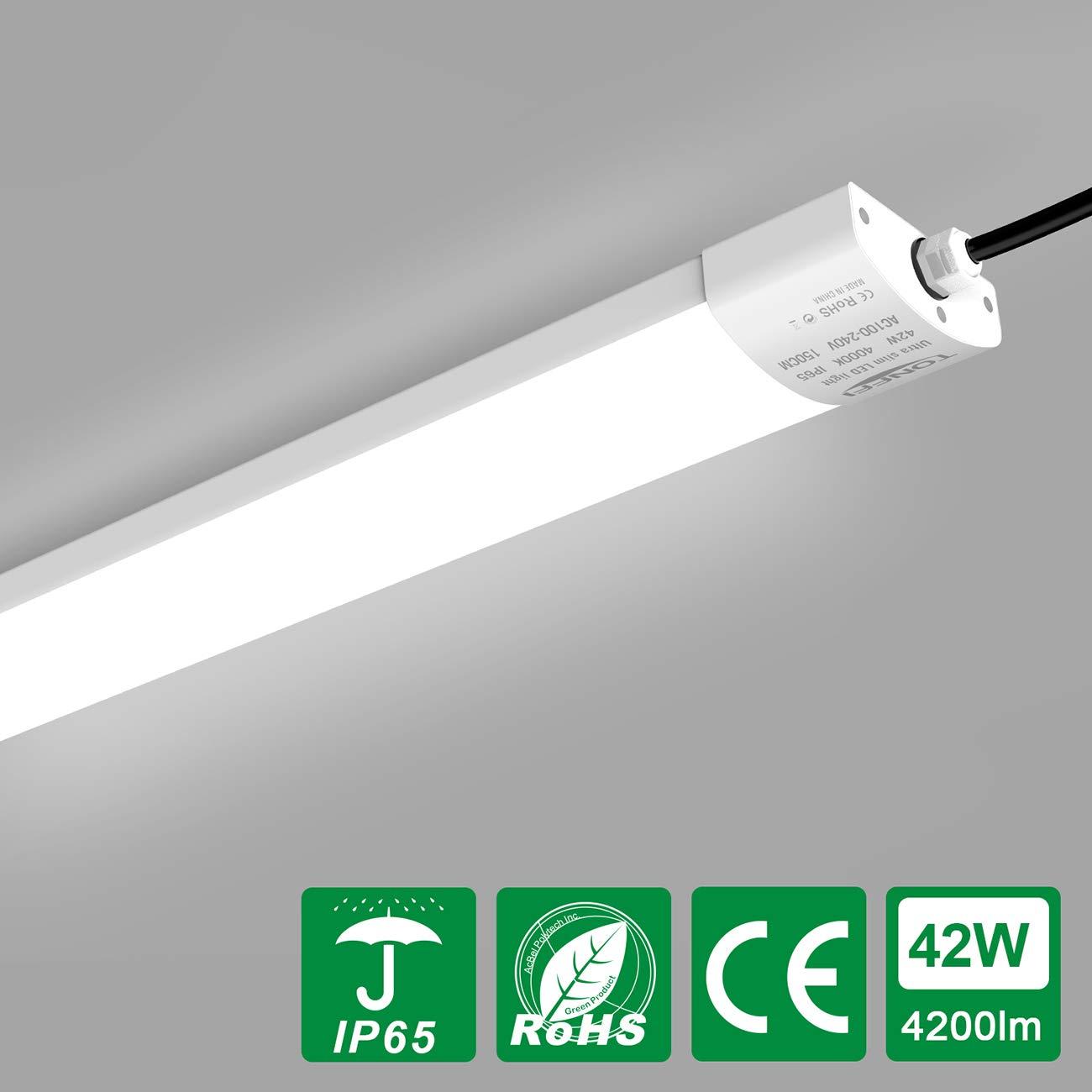 Tube Fluorescent LED 150CM 42W   Tonffi 4200LM Barre Luminaire Lumineuse  Cuisine Étanche IP65   Eclairage