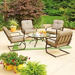 Mainstays Lawson Ridge 5 Piece Patio Conversation Set Tan Seat