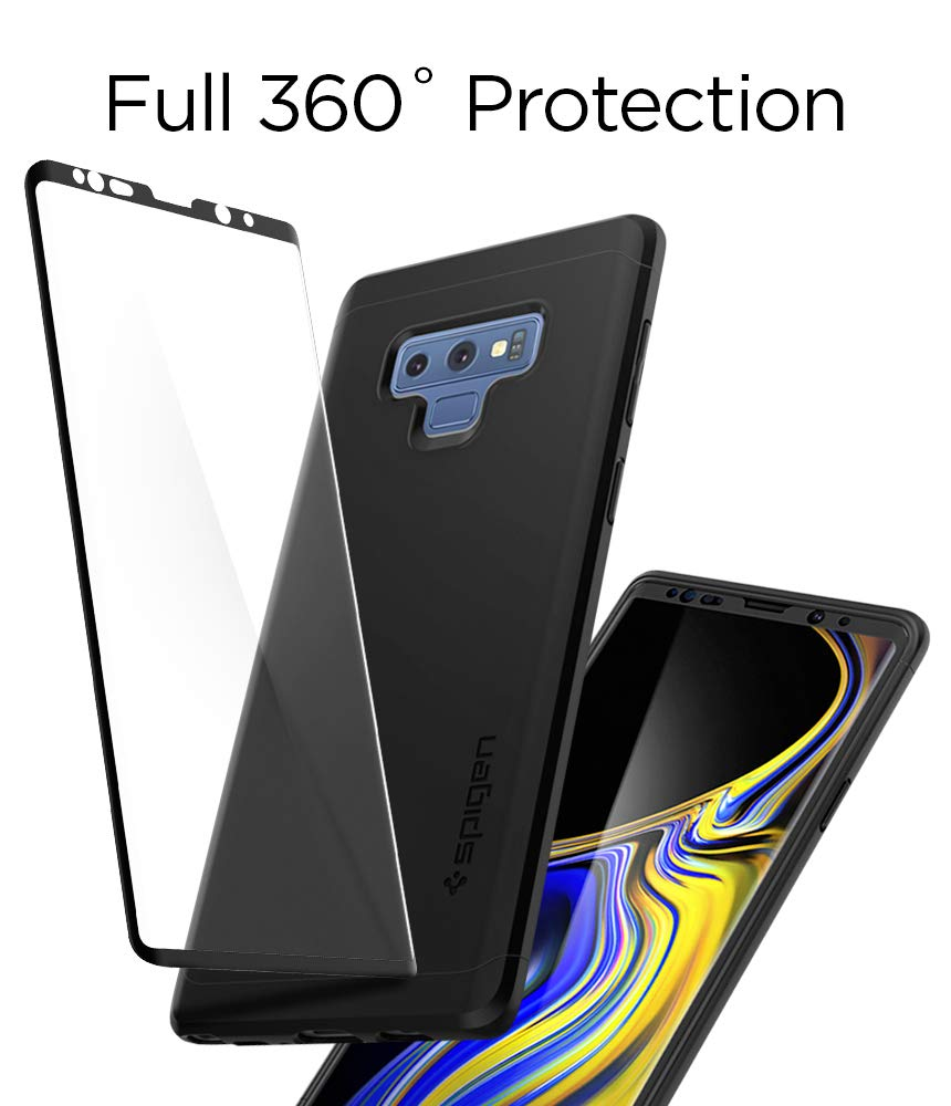 online store ac6d7 72abb Spigen Thin Fit 360 Designed for Galaxy Note 9 Case (2018) Tempered Glass  Screen Protectors Included - Black