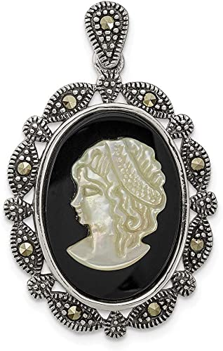 Mother Child Family Black Agate Stone Cameo Pendant Sterling Silver Jewelry