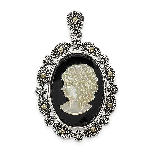 3b7a88c5786f0 Amazon.com: 925 Sterling Silver Marcasite Black Agate Mop White ...